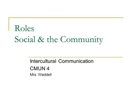 Roles Social & the Community Intercultural Communication CMUN 4 Mrs. Waddell.