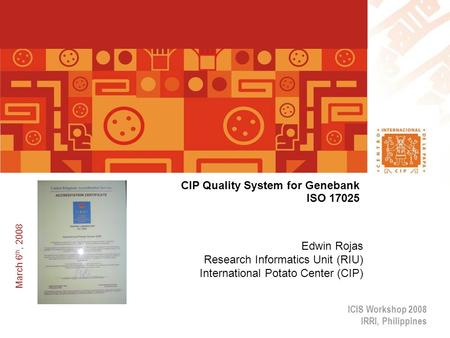 CIP Quality System for Genebank ISO 17025