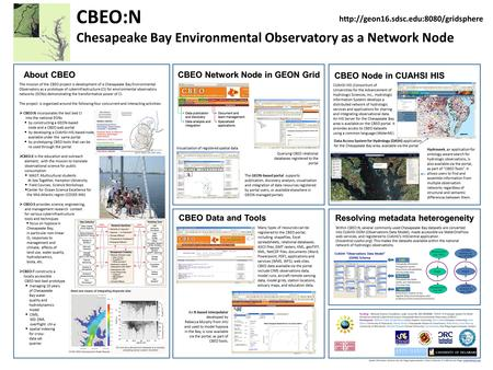 CBEO:N Chesapeake Bay Environmental Observatory as a Network Node About CBEO The mission of the CBEO project is development of a Chesapeake Bay Environmental.