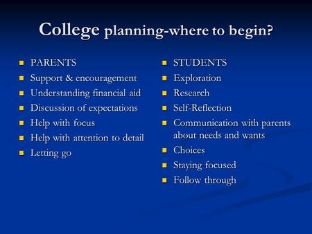 College planning-where to begin? PARENTS PARENTS Support & encouragement Support & encouragement Understanding financial aid Understanding financial aid.