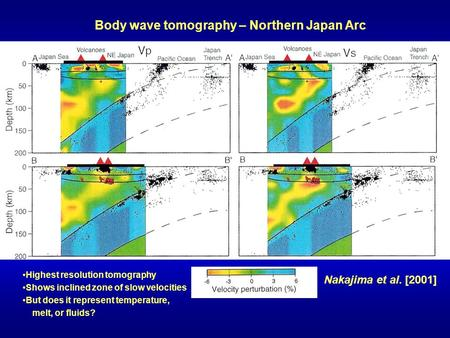 Body wave tomography – Northern Japan Arc