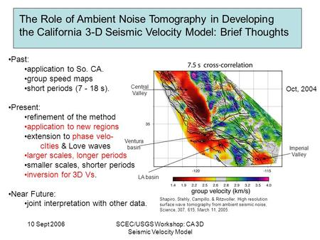 10 Sept 2006SCEC/USGS Workshop: CA 3D Seismic Velocity Model The Role of Ambient Noise Tomography in Developing the California 3-D Seismic Velocity Model: