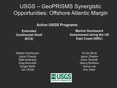 USGS – GeoPRISMS Synergistic Opportunities: Offshore Atlantic Margin Debbie Hutchinson Jason Chaytor Matt Arsenault Greg Mountain Ginger Barth Jon Childs.