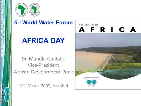 5 th World Water Forum AFRICA DAY 1 Dr. Mandla Gantsho Vice-President African Development Bank 18 th March 2009, Istanbul.
