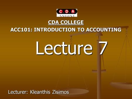 ACC101: INTRODUCTION TO ACCOUNTING