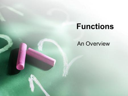 Functions An Overview. Functions A function is a procedure for assigning a single output to any acceptable input. Functions can be written as formulas,