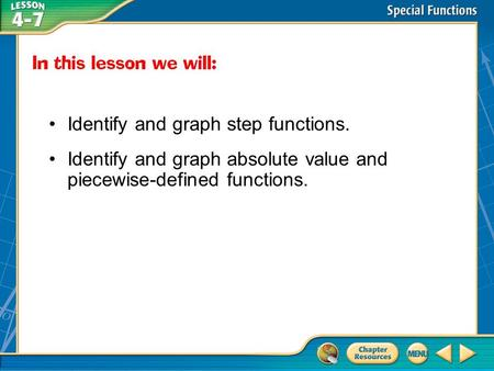 Then/Now Identify and graph step functions. Identify and graph absolute value and piecewise-defined functions.