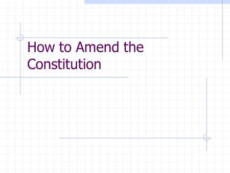 How to Amend the Constitution. One Way (used MOST) Two-thirds (2/3) of both houses of Congress vote to propose an amendment THEN  Three- fourths (3/4)