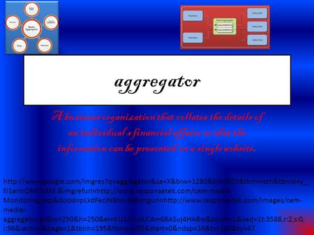 Aggregator A business organization that collates the details of an individual's financial affairs so that the information can be presented on a single.