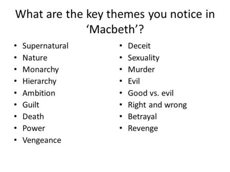 themes for essays of macbeth Macbeth - themes of ambition 3 pages 827 words february 2015 saved essays save your essays here so you can locate them quickly.