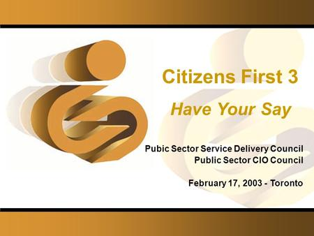©Institute for Citizen-Centred Service Citizens First 3 Have Your Say Pubic Sector Service Delivery Council Public Sector CIO Council February 17, 2003.