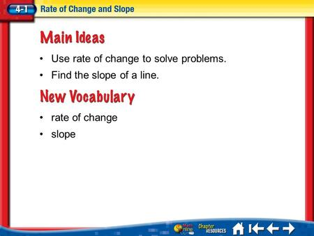 Lesson 1 MI/Vocab rate of change slope Use rate of change to solve problems. Find the slope of a line.