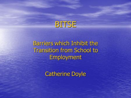 BITSE Barriers which Inhibit the Transition from School to Employment Catherine Doyle.