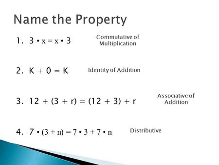 1. 3 x = x 3 2. K + 0 = K 3. 12 + (3 + r) = (12 + 3) + r 4. 7 (3 + n) = 7 3 + 7 n Name the Property Commutative of Multiplication Identity of Addition.