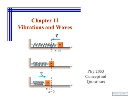 Chapter 11 Vibrations and Waves Phy 2053 Conceptual Questions.