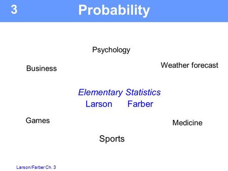 Larson/Farber Ch. 3 Weather forecast Psychology Games Sports 3 Elementary Statistics Larson Farber Business Medicine Probability.