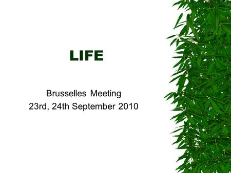 LIFE Brusselles Meeting 23rd, 24th September 2010.