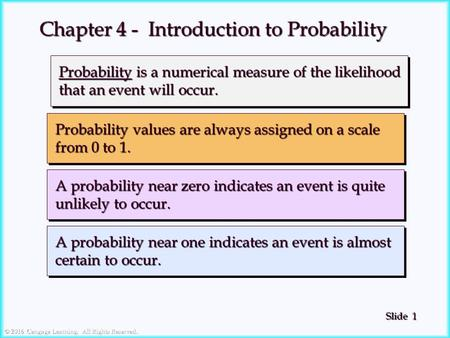 1 1 Slide © 2016 Cengage Learning. All Rights Reserved. Probability is a numerical measure of the likelihood Probability is a numerical measure of the.