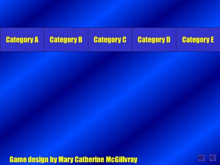 Category ACategory BCategory CCategory DCategory E Game design by Mary Catherine McGillvray.