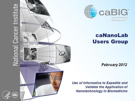 CaNanoLab Users Group February 2012 Use of Informatics to Expedite and Validate the Application of Nanotechnology in Biomedicine.