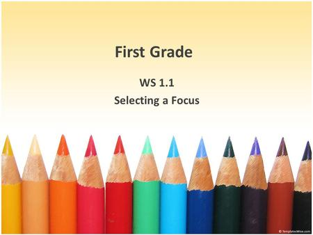 First Grade WS 1.1 Selecting a Focus. Objectives 1. Select a focus when writing. 2. Identify the main idea of a story. 3. Choose details or sentences.