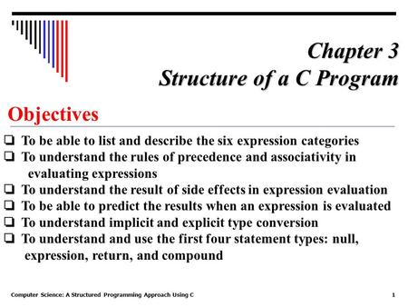 Computer Science: A Structured Programming Approach Using C1 Objectives ❏ To be able to list and describe the six expression categories ❏ To understand.