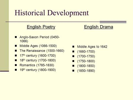 Historical Development English Poetry Anglo-Saxon Period (0450- 1066) Middle Ages (1066-1500) The Renaissance (1500-1660) 17 th century (1600-1700) 18.