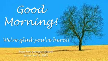 Good Morning! Rose Free Lutheran Church September 6, 2015 We're glad you're here!!