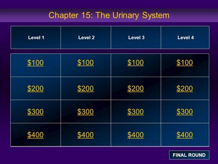 Chapter 15: The Urinary System $100 $200 $300 $400 $100$100$100 $200 $300 $400 Level 1Level 2Level 3Level 4 FINAL ROUND.