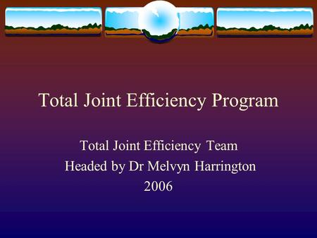 Total Joint Efficiency Program Total Joint Efficiency Team Headed by Dr Melvyn Harrington 2006.