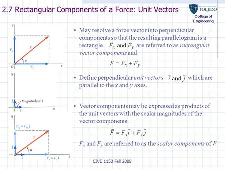 College of Engineering CIVE 1150 Fall 2008 2.7 Rectangular Components of a Force: Unit Vectors Vector components may be expressed as products of the unit.
