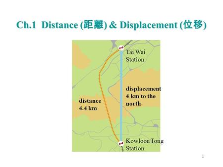 Ch.1 Distance ( 距離 ) & Displacement ( 位移 ) 1 Tai Wai Station Kowloon Tong Station displacement 4 km to the north distance 4.4 km.