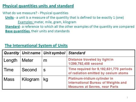 Physical quantities units and standard What do we measure? - Physical quantities Units - a unit is a measure of the quantity that is defined to be exactly.