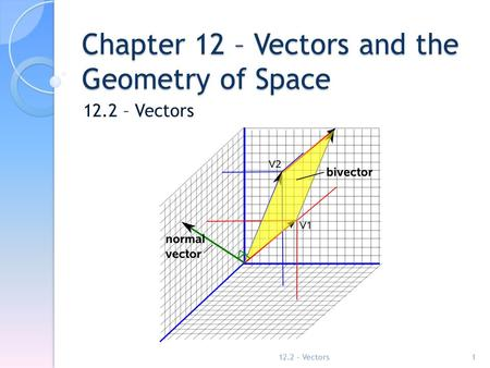 Chapter 12 – Vectors and the Geometry of Space 12.2 – Vectors 1.