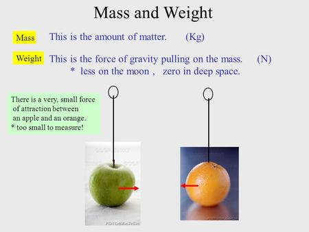 Mass and Weight Mass This is the amount of matter. (Kg) Weight This is the force of gravity pulling on the mass. (N) * less on the moon, zero in deep space.