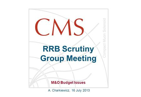 RRB Scrutiny Group Meeting A. Charkiewicz, 16 July 2013 M&O Budget Issues.