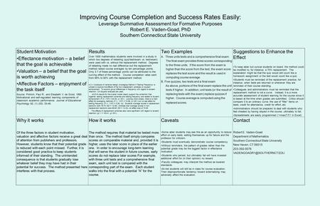 Improving Course Completion and Success Rates Easily: Leverage Summative Assessment for Formative Purposes Robert E. Vaden-Goad, PhD Southern Connecticut.