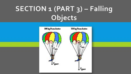 SECTION 1 (PART 3) – Falling Objects. AIR RESISTANCE  When an object falls, gravity pulls it down.  Air resistance works opposite of gravity and opposes.