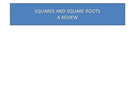SQUARES AND SQUARE ROOTS A REVIEW. CONTENTS SQUARES. PERFECT SQUARES. FACTS ABOUT SQUARES. SOME METHODS TO FINDING SQUARES. SOME IMPORTANT PATTERNS.