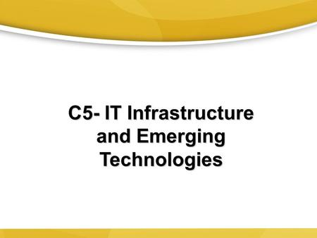 C5- IT Infrastructure and Emerging Technologies. Input – Process - Output 2 A computer  Takes data as input  Processes it  Outputs information CPU.