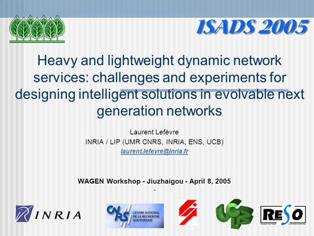 Heavy and lightweight dynamic network services: challenges and experiments for designing intelligent solutions in evolvable next generation networks Laurent.