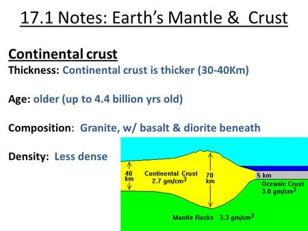 17.1 Notes: Earth's Mantle & Crust Continental crust Thickness: Continental crust is thicker (30-40Km) Age: older (up to 4.4 billion yrs old) Composition: