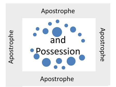 And Possession. The apostrophe Can be used to show possession – Mike's car – her mother's bracelet – the sweater's drawer – many girls' fathers – June.