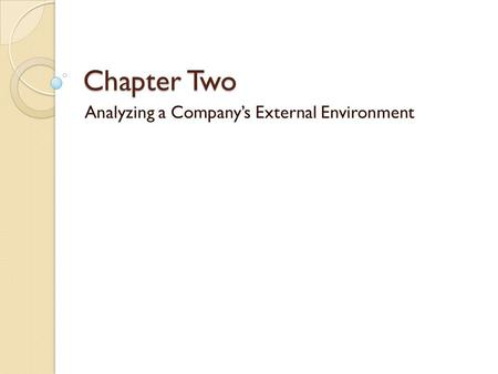 Chapter Two Analyzing a Company's External Environment.