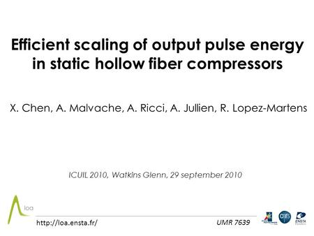 Efficient scaling of output pulse energy in static hollow fiber compressors X. Chen, A. Malvache, A. Ricci, A. Jullien, R. Lopez-Martens ICUIL 2010, Watkins.