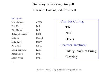 Summary of Working Group II – Chamber Coating and Treatment Participants: Michel ChanelCERN Ping HeBNL Dick Hseuh BNL Roberto KersevanESRF Yulin LiCornell.