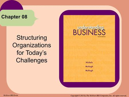Structuring Organizations for Today's Challenges Chapter 08 McGraw-Hill/Irwin Copyright © 2013 by The McGraw-Hill Companies, Inc. All rights reserved.