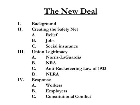 The New Deal I.Background II.Creating the Safety Net A.Relief B.Jobs C.Social insurance III.Union Legitimacy A.Norris-LaGuardia B.NRA C.Anti-Racketeering.