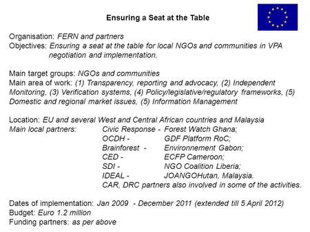 Ensuring a Seat at the Table Organisation: FERN and partners Objectives: Ensuring a seat at the table for local NGOs and communities in VPA negotiation.