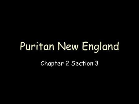 Puritan New England Chapter 2 Section 3.